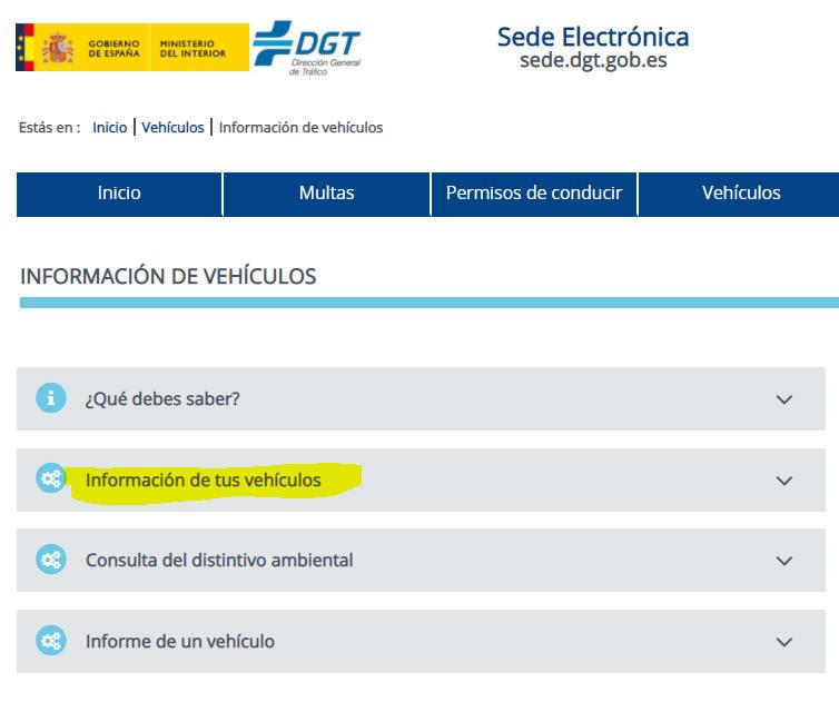Información vehículos
